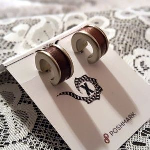Nine West Vintage C Hoop Earrings Silver & Brown